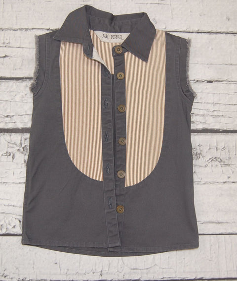 Fray For You Button Down in Slate Motif