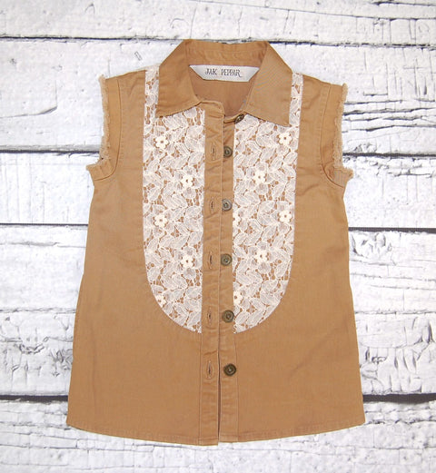 Fray For You Button Down in Sand Dune Motif