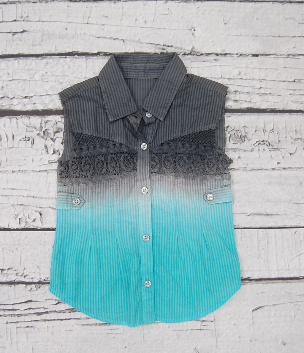 Ombre Jessie Top in Slate Aqua Dazed