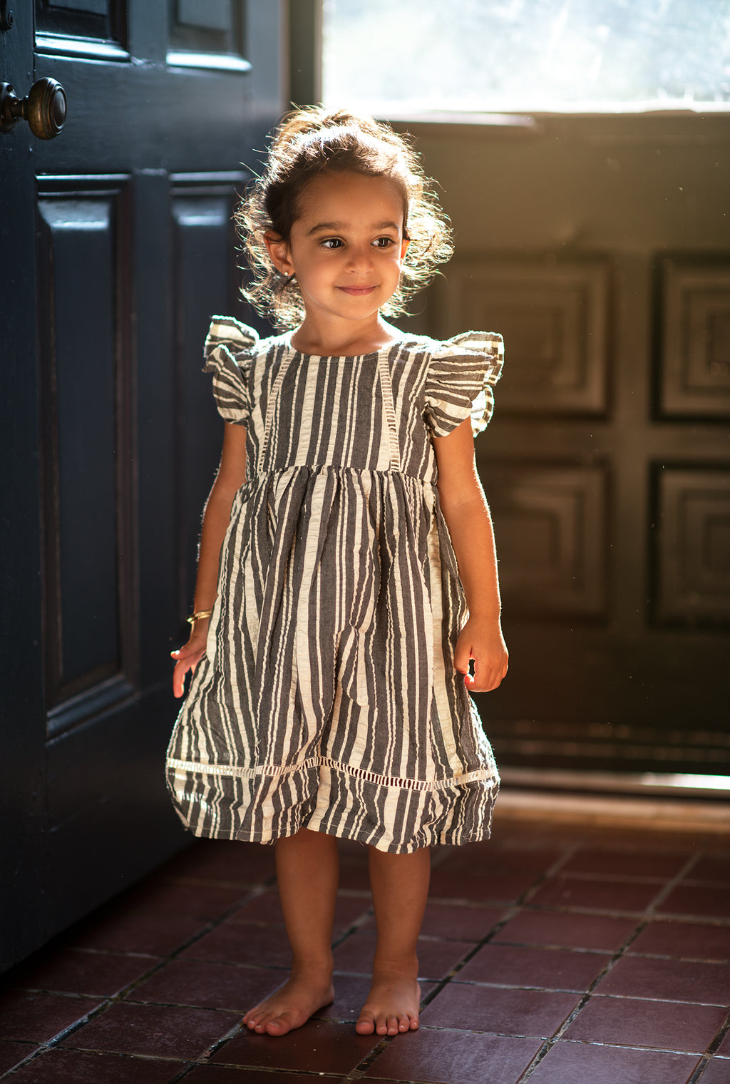 Evandale Dress in Charcoal Stripe