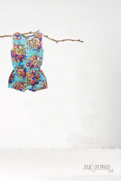 Ramona Romper in Aquamarine
