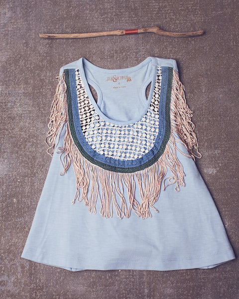 Fringe Down Crop in Spa Blue