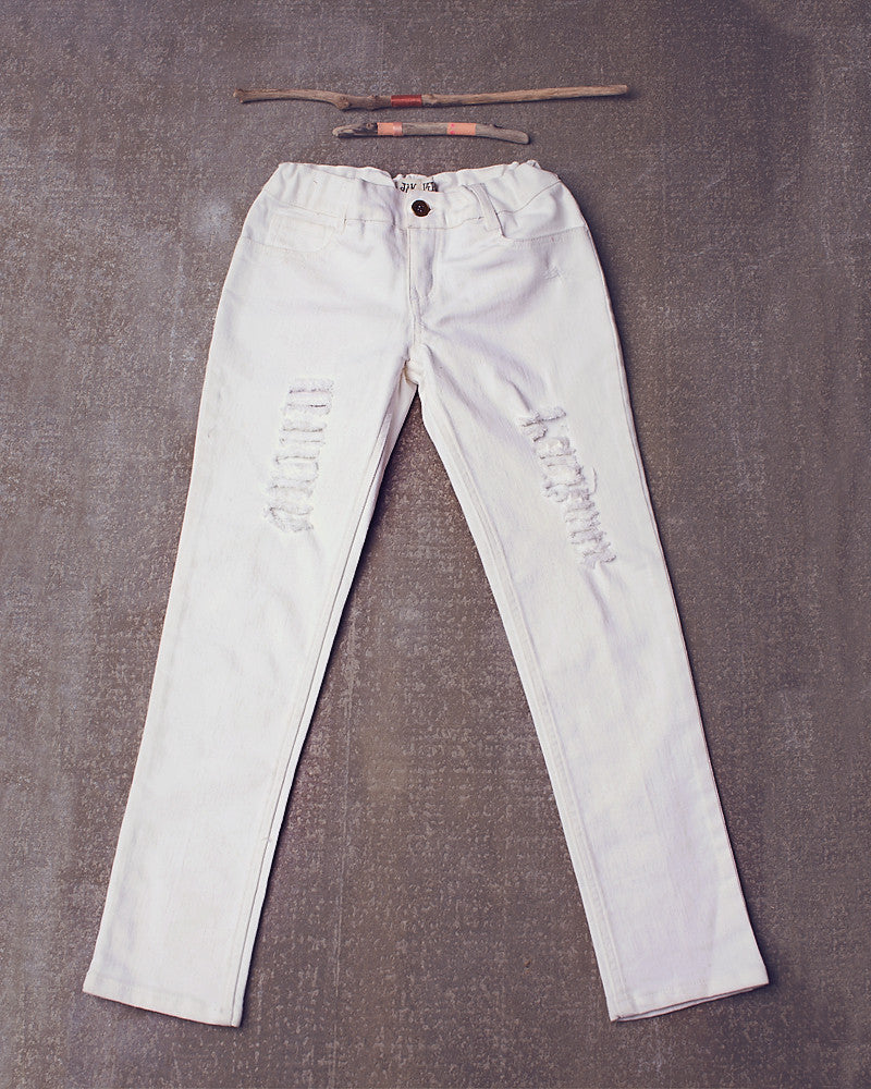 Jak Super Destroyed Skinnies in White Wash