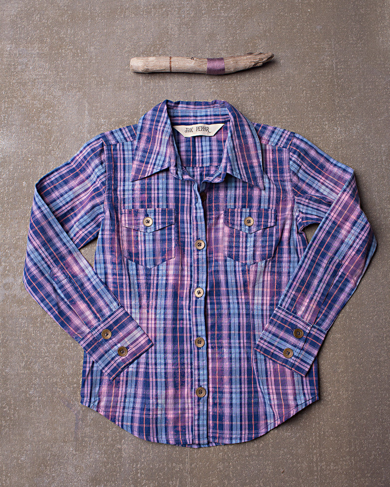 Wild Sky Button Down  in Orchid Plaid