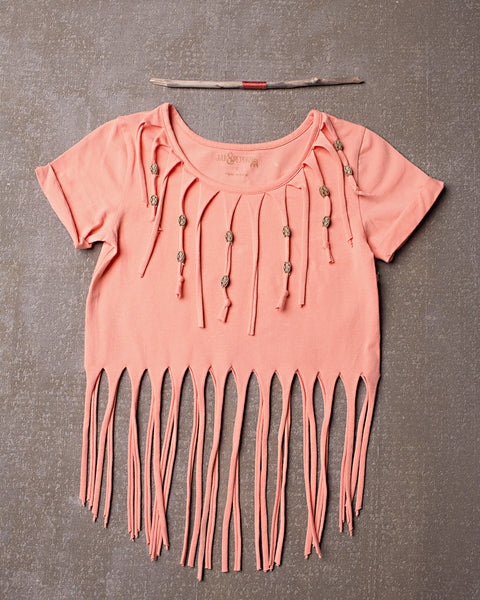 Ireland Fringe Top  in Tangerine