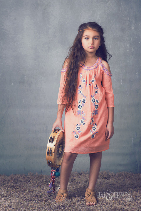 Boho Jane Dress in Tangerine
