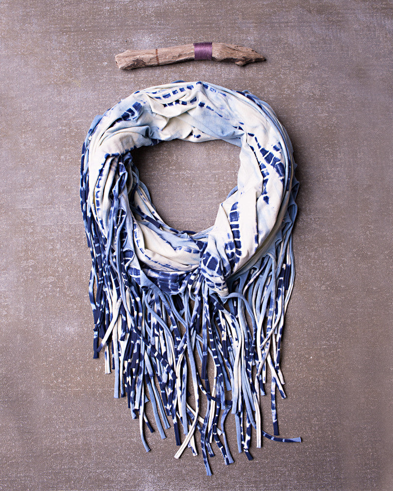 Take The Fringe Scarf in Dazed Navy