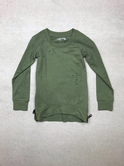 Tattered and Torn Pullover in Olive