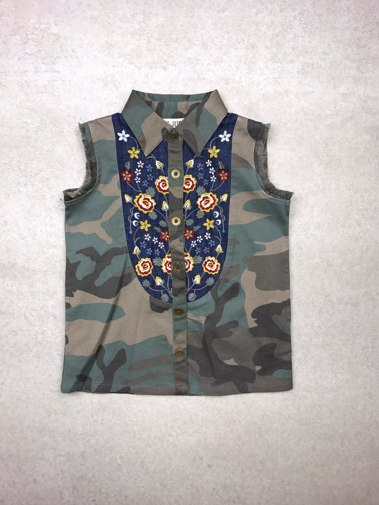 Fray for You Button Down in Camo