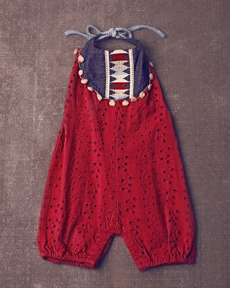 Out west romper in Berry