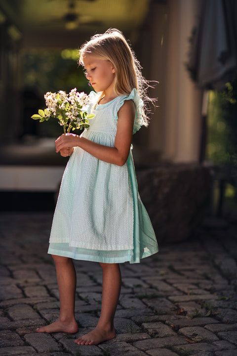 Eva Dress Set in Aqua