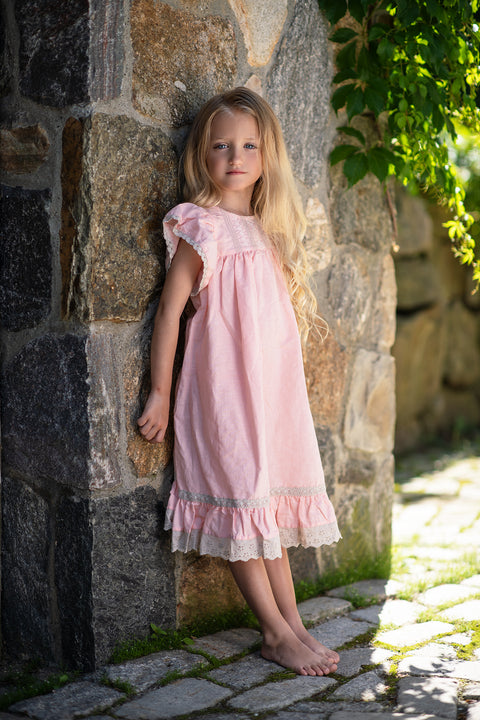 Clara Dress in Bubblegum Bisque