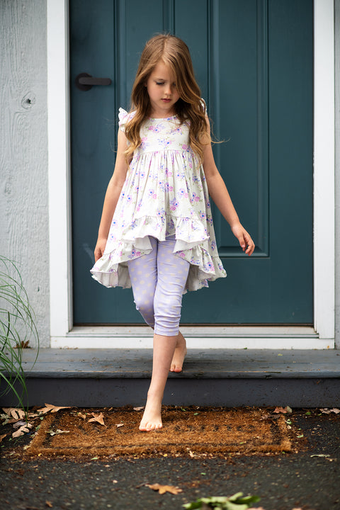 Fluttery Tunic Set in Lilac Field