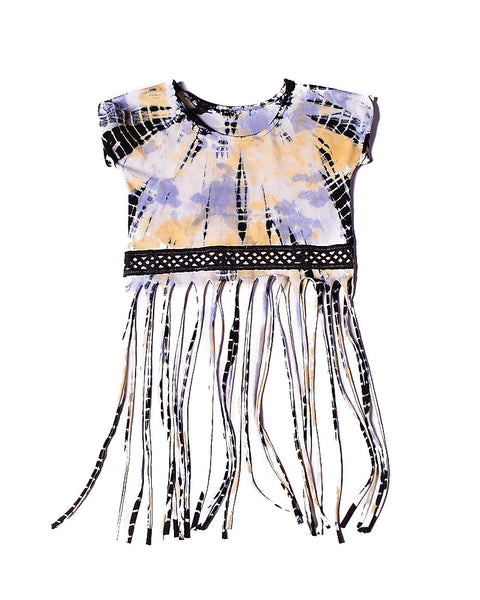 All Fringed Out Top  in Dazed Gold Aubergine