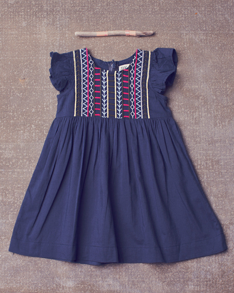 Evandale Dress in Navy Bean