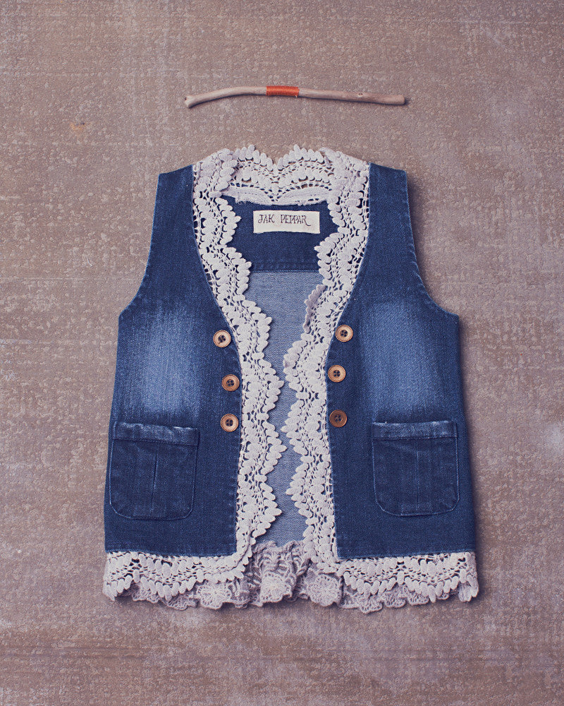 Denim Vest in Medium Wash Denim