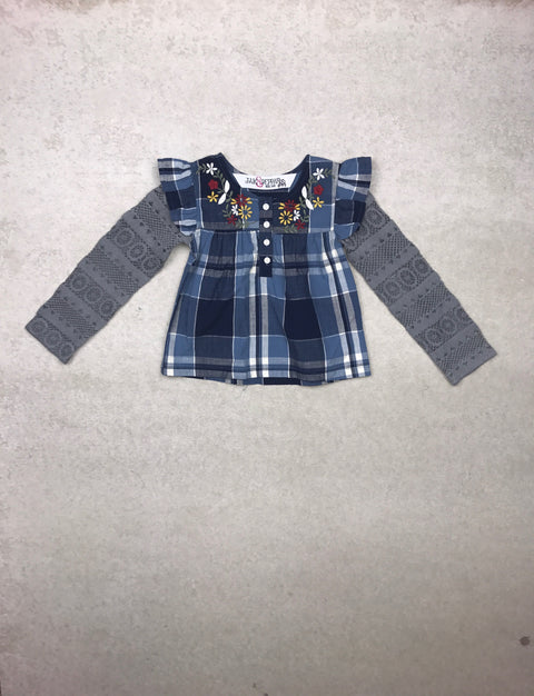 Aspen Top in Sky Blue Plaid