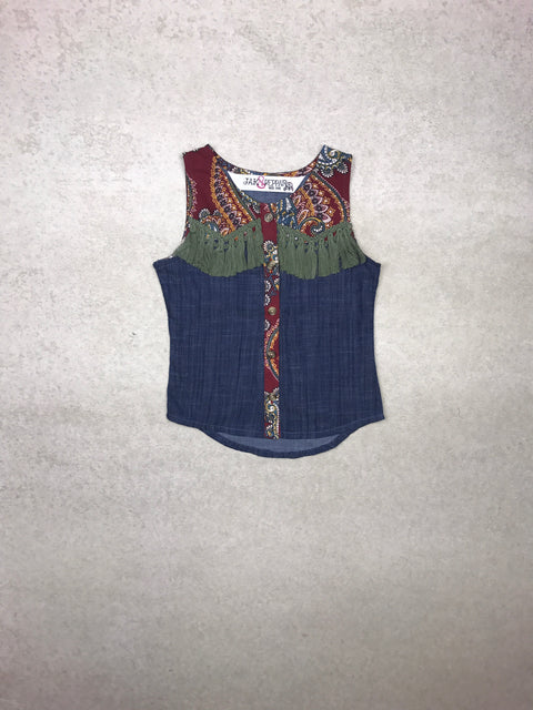 Olive Top in Chambray