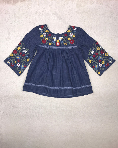 Sepia Peasant Top in Chambray