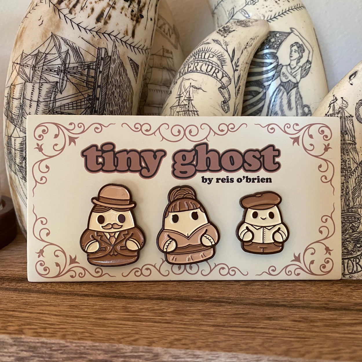 Tiny Ghost (Old Timey) LE Enamel Pin Set