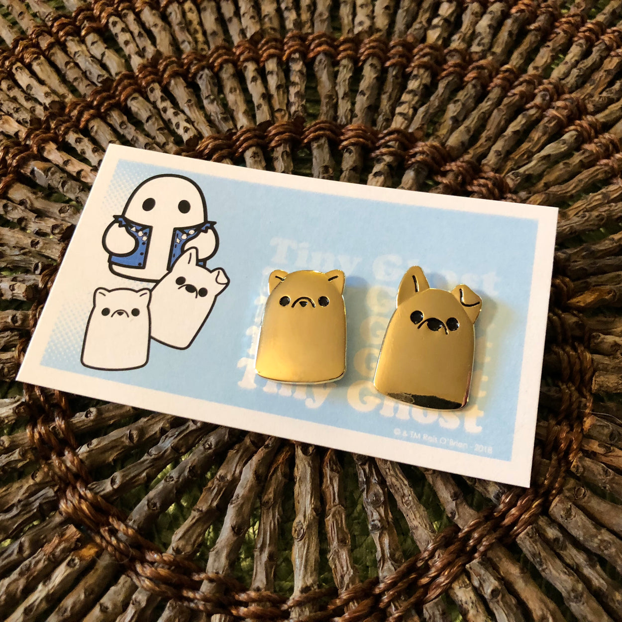 Puppy & Kitty Ghost (Gold) LE Enamel Pin Set