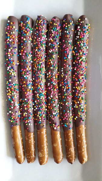 Sprinkled Chocolate Pretzel Rods - 1 Dozen