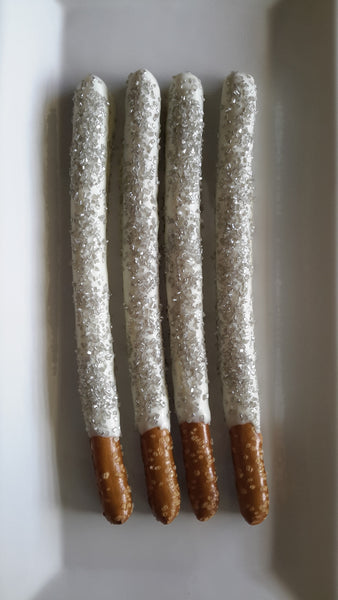 Sprinkled White Chocolate Pretzel Rods - 1 Dozen