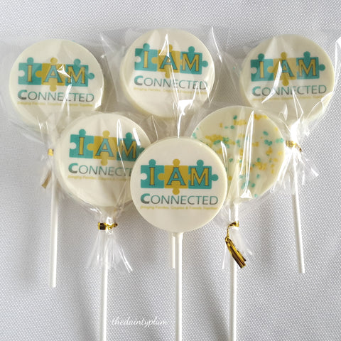 logo lollipops, chocolate lollipops, chocolate logo lollipops, branded sweets, wedding favor, corporate sweets