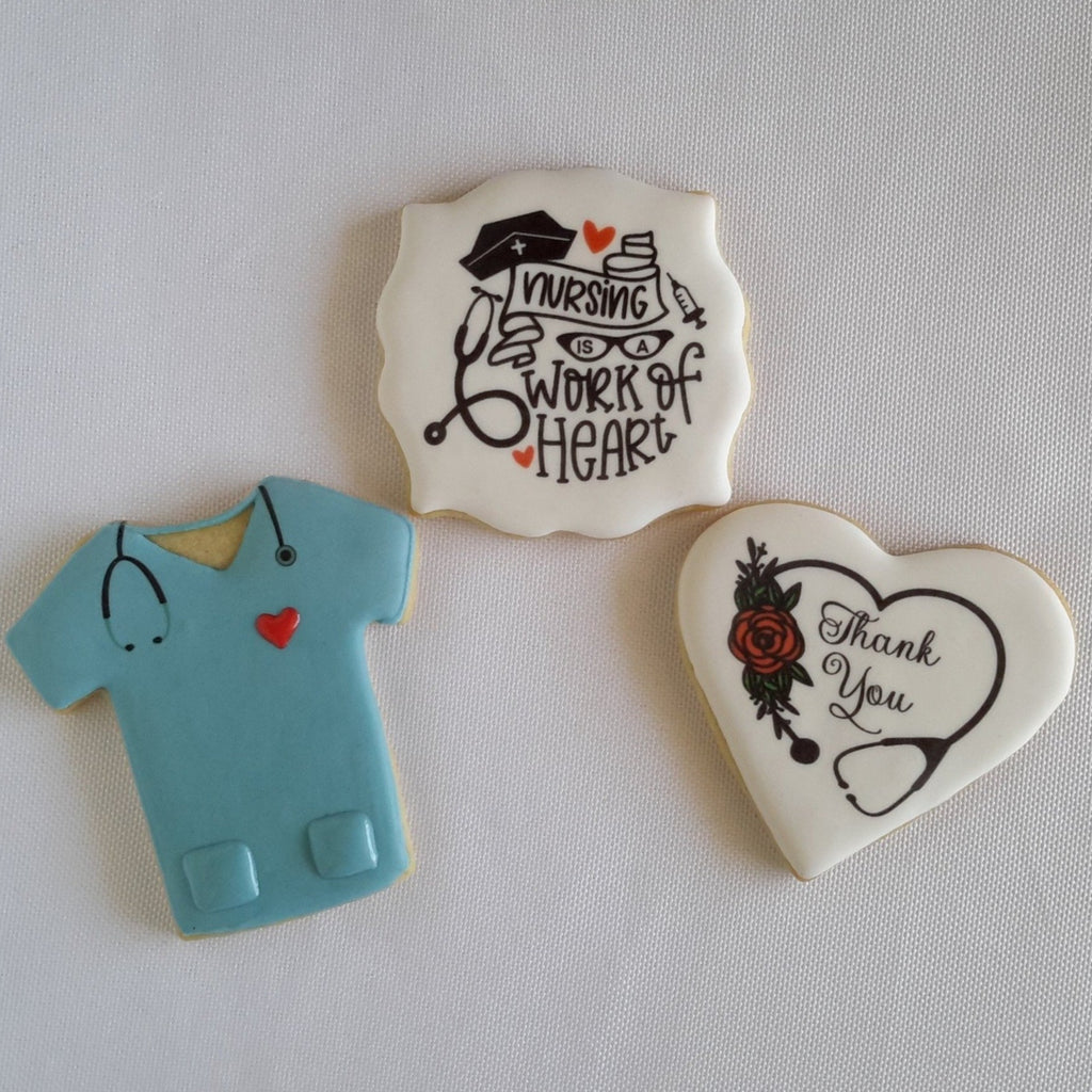 Nurse appreciation, nurse cookies, scrubs cookies