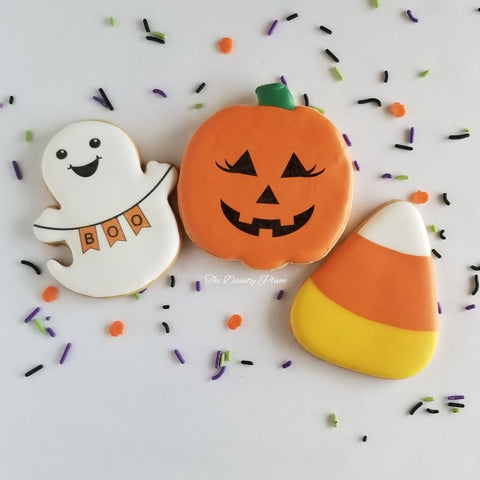 Halloween Cookies, ghost cookie, jack-o-lantern, candy corn, pumpkin