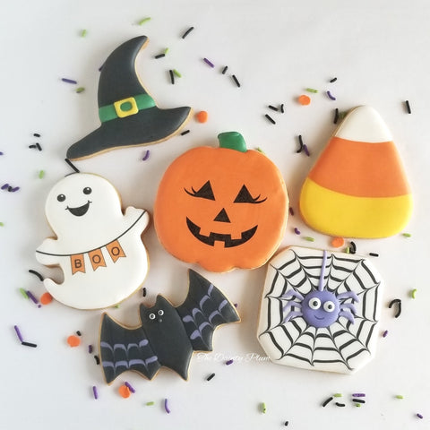 Halloween cookies, witch hat, jack-o-lantern, candy corn, bat, spider web cookies, witches hat, ghost cookies