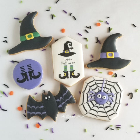 Halloween Cookies, witch hat, bat cookies, spiderweb cookies