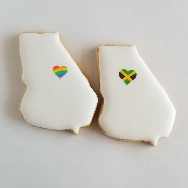 Georgia shaped cookies, Peach state cookies, Georgia wedding cookies, Georgia shaped cookies with hearts