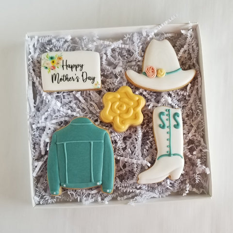 Mother's Day Cookies, cowboy hat cookies, cowboy boots cookies, jean jacket cookies, country mom cookies