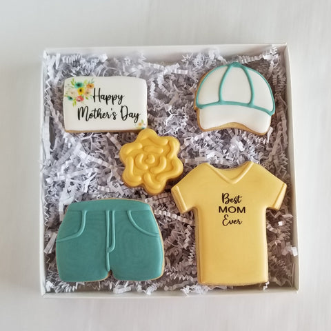 Mother's Day Cookies, shorts decorated cookies, tshirt cookies, baseball cap cookies, shorts and tshirt