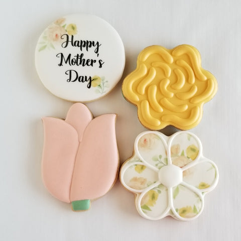 Mother's Day Cookies, flower cookies, tulip decorated cookies, water color cookies