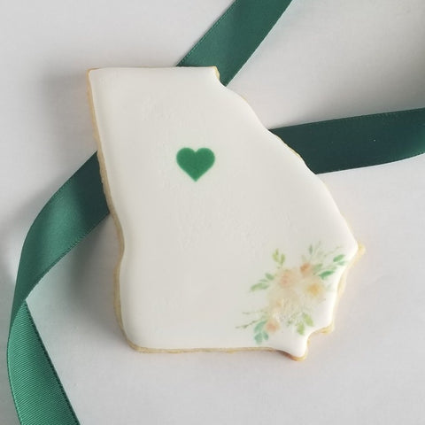 Georgia shaped cookies, Peach state cookies, Georgia wedding cookies