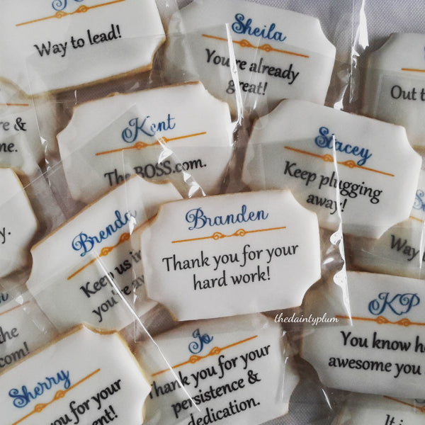 logo cookie plaque, branded cookies, thank you cookies, appreciation cookies