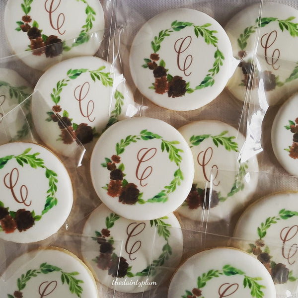 logo cookie, branded cookie, corporate cookie, monogram cookies, wedding cookies