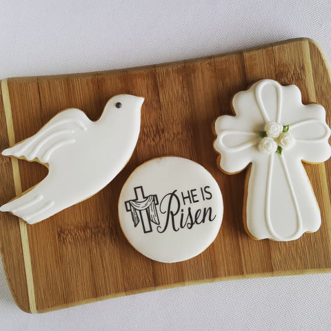 He is risen Easter Cookies, cross cookies, dove cookies