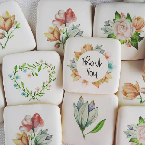 Thank you cookies, thinking of you cookies, floral cookies, watercolor cookies