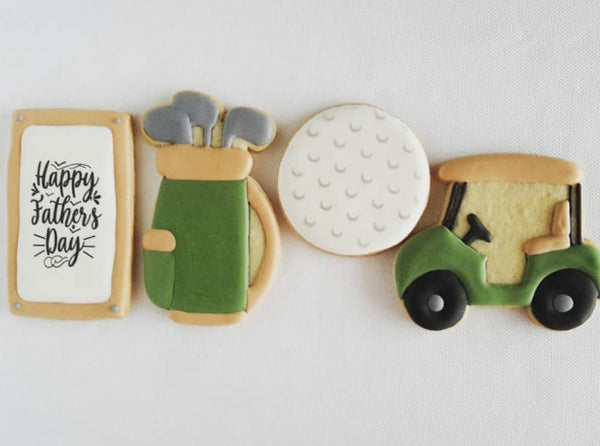 golf cookies, golf club cookies, father's day, golf cart decorated cookies