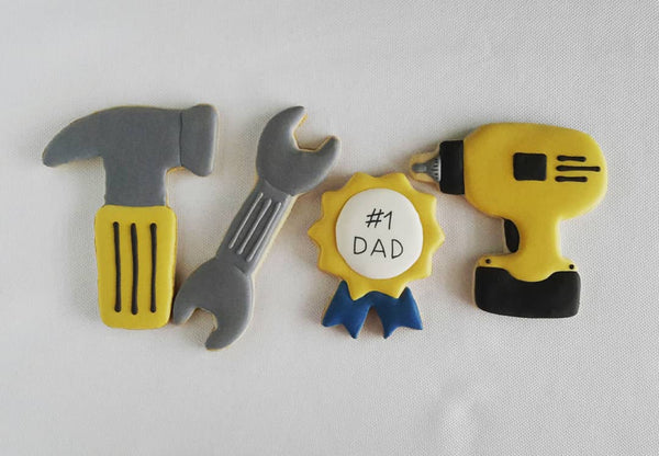 father's day cookies, tool cookies, #1 Dad, hammer decorated cookies, power drill decorated cookies