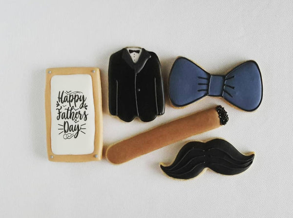 father's day cookies, cigar cookies, well dressed man cookies, mustache cookies, bowtie cookies