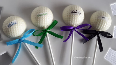 Chocolate Golf Ball Lollipops - 12 pcs