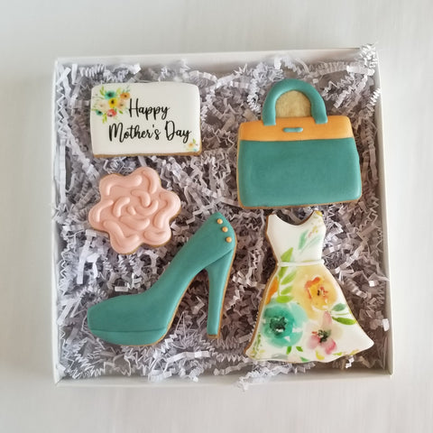 Mother's Day Cookies, pumps decorated cookies, handbag cookies, dress cookies, girls night out cookies