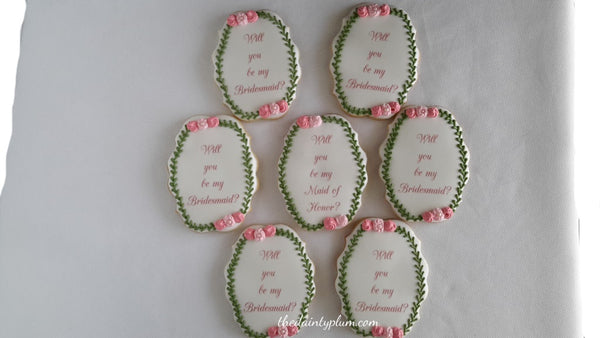 Bridesmaid Proposal Cookies w/ Floral Border