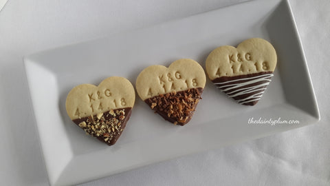 Wedding / Engagement / Anniversary Cookies Dipped in Chocolate - 12 pcs