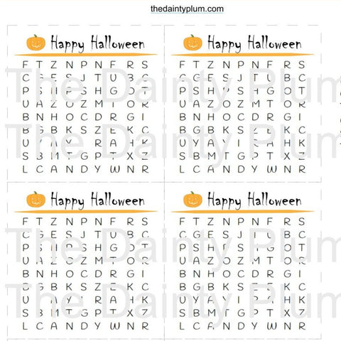 Word Search, Digital Download, PDF, Halloween