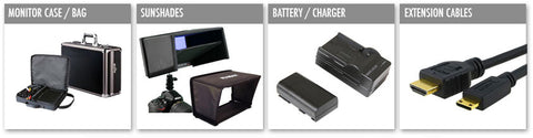 monitor case, sunshades, battery cables etc.